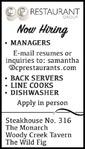 Manager,  Back Servers, Line Cooks, Dishwashers - CP Restaurant Group
