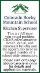 Kitchen Supervisor - Colorado Rocky Mountain School