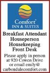Breakfast Attendant, Houseperson, Housekeeping, Front Desk - Comfort Inn & Suites