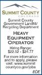 Heavy Equipment Operator Summit County Government