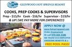 Cooks, Prep Cooks & Supervisors - Glenwood Hot Springs