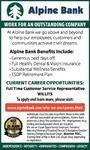 Customer Service Representative Alpine Bank