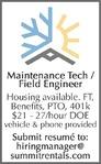 Maintenance Tech/Field Engineer - Summit Mountain Rentals